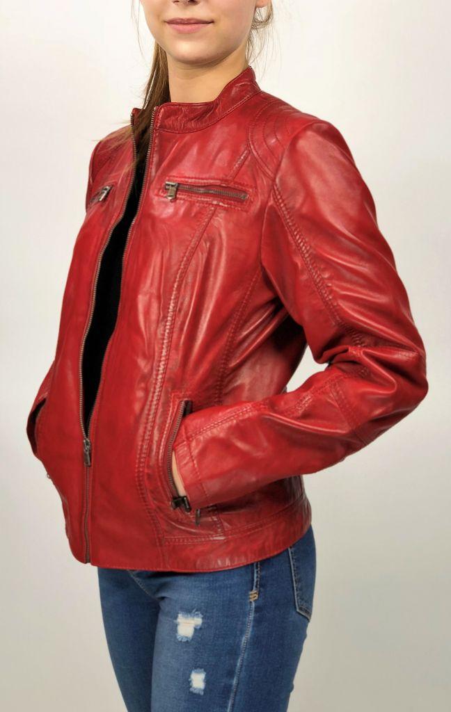 837b498dfe MONO piros rövid női bőrdzseki – Bőrkabát és bőrdzseki a gyártótól