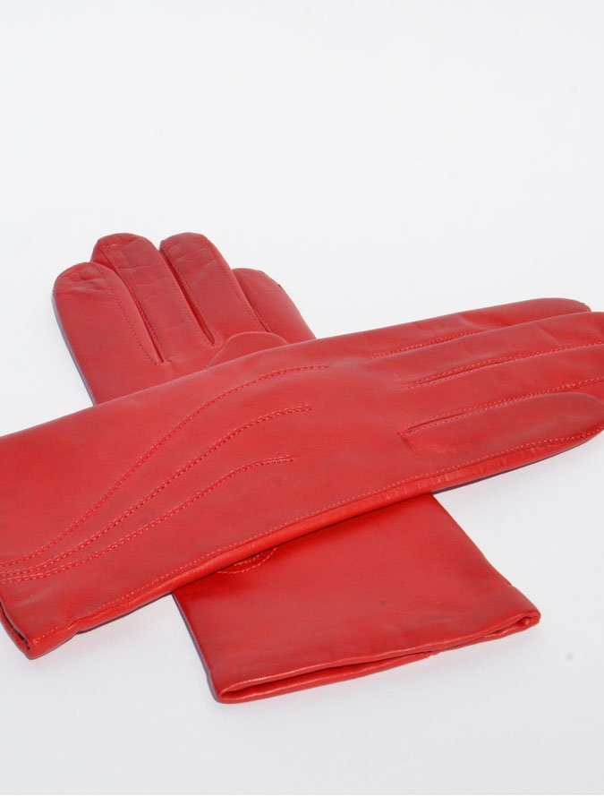 Női piros három sorban díszített bőrkesztyű – Bőrkabát és bőrdzseki ... 1ec9eb2fe6